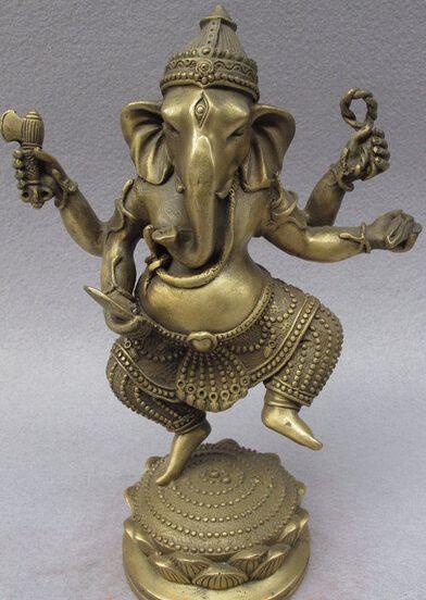 17192-8-Tibet-Brass-Buddhism-Wealth-Joss-Lotus-Ganesh-Mammon-Ganesha-God-Buddha-Statue